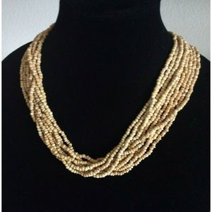 J.Jill Wood Bead Multi-Strand Collar Necklace